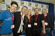 Colin Morgan Anthony Head Johnny Capps and Julian Murphy