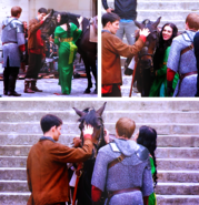 Katie McGrath Colin Morgan and Bradley James Behind The Scenes