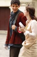 Colin Morgan and Janet Montgomery Behind The Scenes Series 4