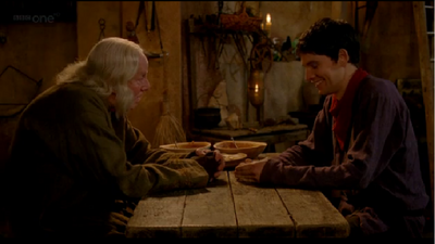 Merlin and gaius laughing