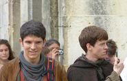 Colin Morgan and Alfie Stewart Behind The Scenes Series 5-3