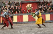 In duelling valiant
