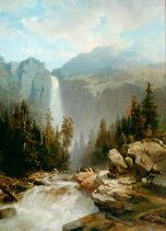 Landscape with mountains and waterfall