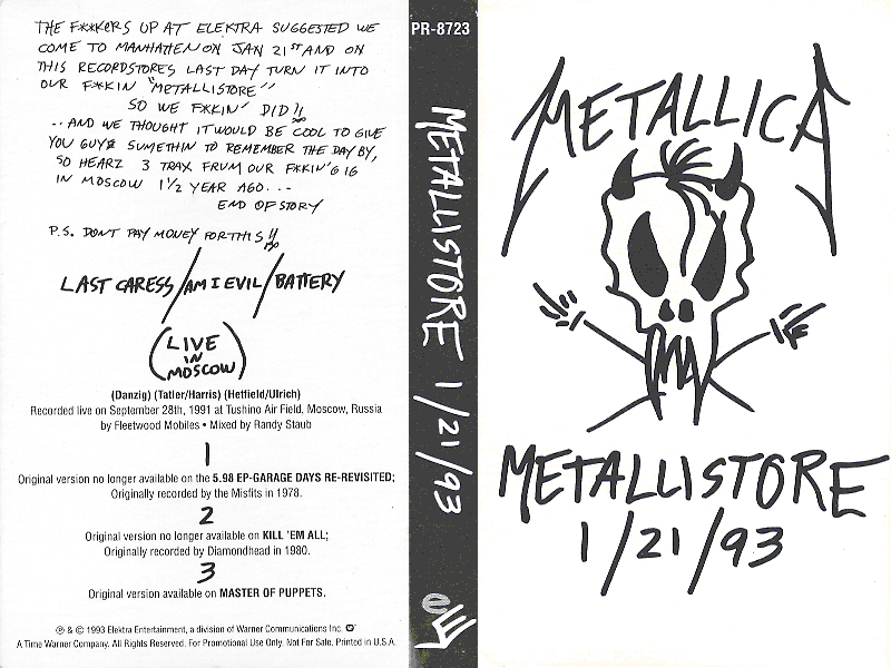 Metallistore 1/21/93 (single) | Metallica Wiki | FANDOM powered by Wikia