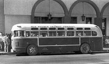 GMC-Bus-old- IDENTICAL (BLUE-GRAY COLOR SCHEME) TO STARTFORD BUS LINE - CT