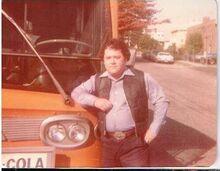 BPT. AUTO TRANSIT CO. ORANGE BUS with driver 1970S CT