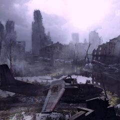 Aftermath of WWIII. A radiation filled swamp is created