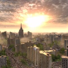 View above Moscow just mere moments before the bombs fell