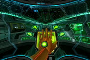 Samus using her Ship's hand Scanner.