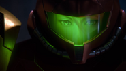 A Piercing Screech Samus looks into the screen