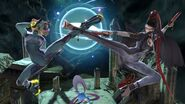 Samus and Bayonetta kicking