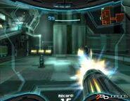 Samus disparando a unos robots de entrenamiento