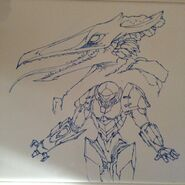 Kynan Pearson whiteboard drawing Samus and Ridley ver. 1