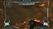 Phazon rojo en el cráter del impacto