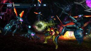 Samus luchando contra unos ki-hunters