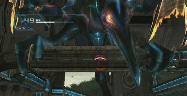 Meta Ridley atacando a Samus en morfosfera