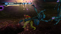 Samus throws a Kihunter MOM