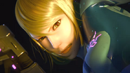 A Piercing Screech Zero Suit Samus attacks Ridley