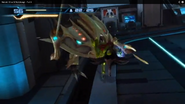 Samus agarra la cabeza del Asborean
