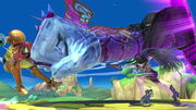 SSB Ultimate Samus decked by Bayonetta