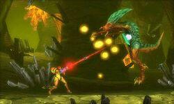 Samus enfrentando a un Metroid Zeta msr