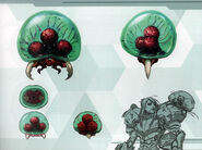MSR Artbook Larva Metroid and baby