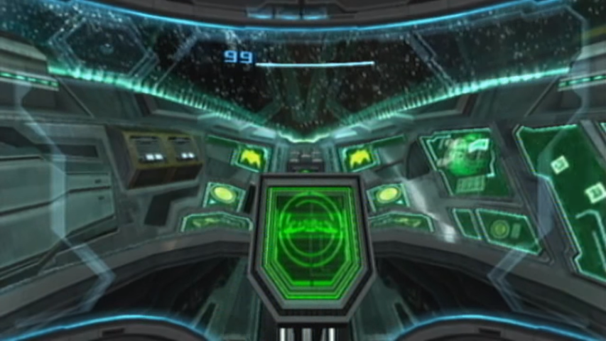 Controls in samus arans gunship are what allow her to lay in a course and fly to a planet or spacecraft it is a gameplay element in metroid prime 3