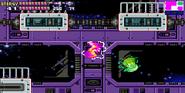 Samus y SA-X usando el Ataque Barrena MF