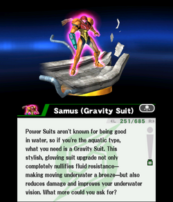 Traje Gravitatorio trofeo descripción ssb 3ds