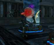 Metroid Talloniano atacando a un Pirata Espacial