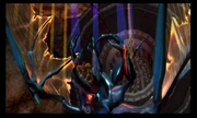 Samus fight Ridley in a shaft