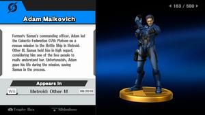 Adam Malkovich trofeo SSB WiiU