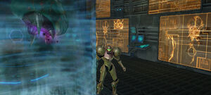 Samus approaches Metroid Aether 2