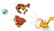 SSB Pikachu VS Yoshi Samus and DK