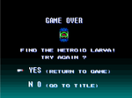 Super Metroid ~ Game Over Continue screen
