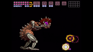 Baby exploding over Samus