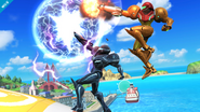 Samus and Dark Samus working together