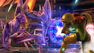 Samus Fighting against Ridley SSBWU