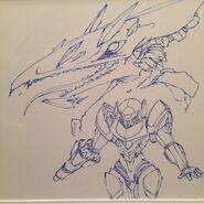 Kynan Pearson whiteboard drawing Samus and Ridley ver. 2