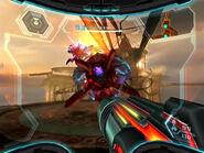 Metroid de Phazon yendo hacia Samus