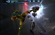Samus dando una patada a un zebesiano robot