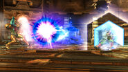 Fox utilizando el reflector para devolver un disparo a Samus - (SSB. for Wii U)