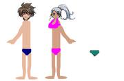 Dan (speedo) and Julie (bikini)