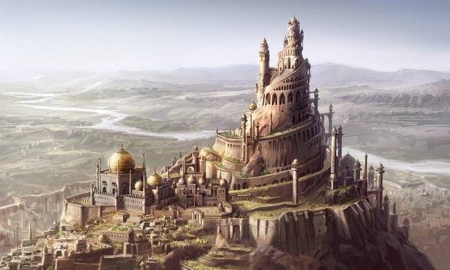 640x385 14816 Concept art for Prince of Persia Sands of time 2d fantasy tower prince of persia city picture image digital art