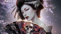 Geisha skull fan