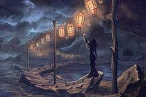 176034-fantasy art-digital art-artwork-women-lantern-sea-rock-clouds-trees-dark-lights