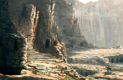 In the petra ruins by raphael lacoste