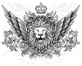13413275-Winged-Lion-Insignia-Stock-Vector-lion-tattoo-crown