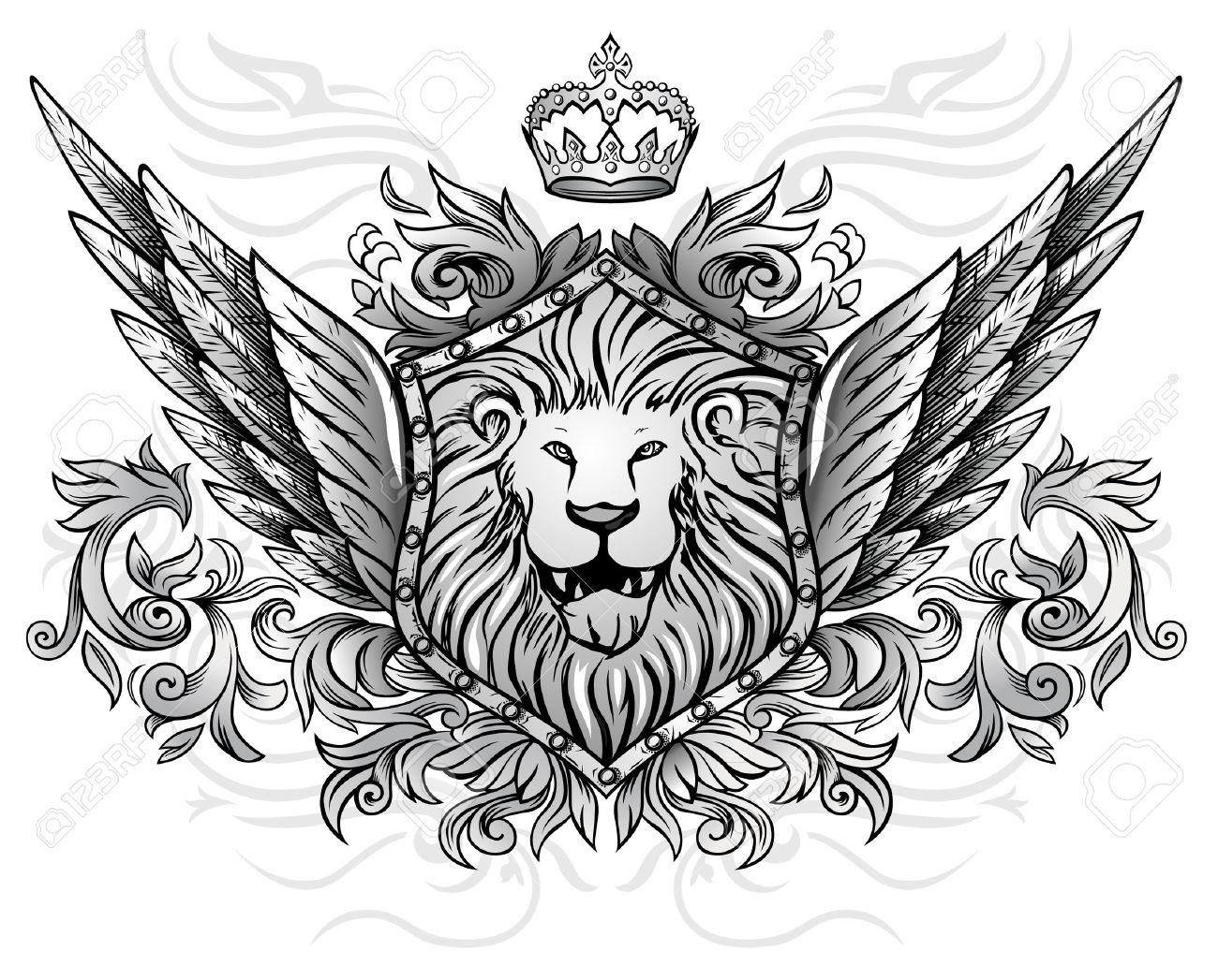 Winged lion tattoo - photo#53