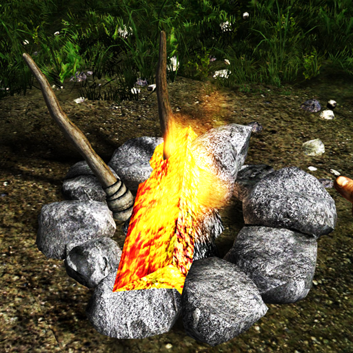 Camp fire with log and torches